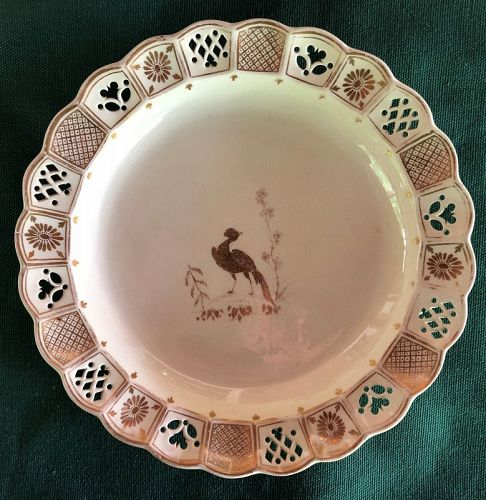 Creamware pierced border gilt plate, extensive gilding, circa 1800