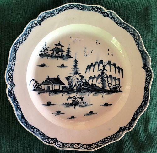 Creamware underglaze blue painted chinoiserie 18th century plate