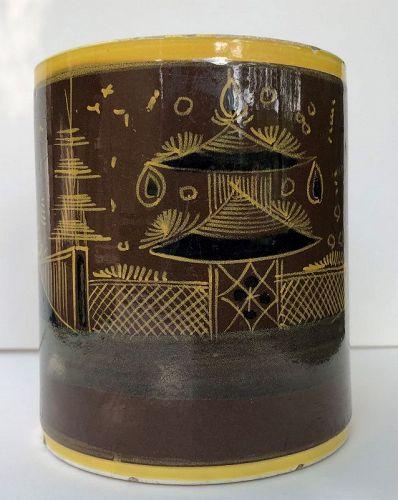 English creamware large mug with polychrome decoration c. 1820