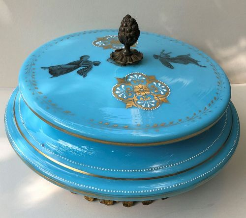 Turquoise opaline covered glass bowl, French c.1875