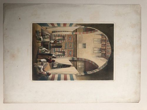 Lithograph of the interior of a Syrian house published 1852