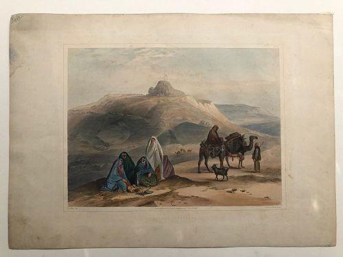 Lithograph desert landscape, veiled women, Afghanistan published 1848