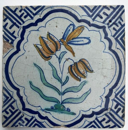 Delft polychrome tile with flowers and bee 1st half 17th century