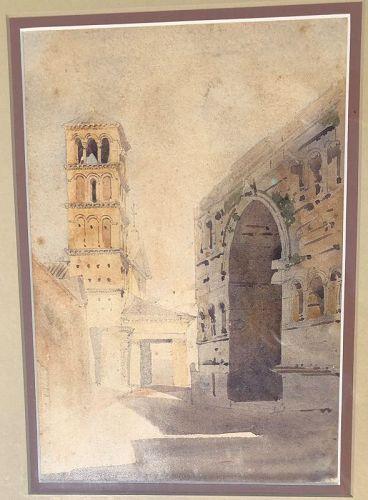 Watercolor S. Giorgio Rome Augustus Hare 1863