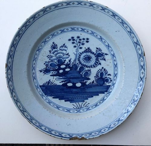 Delft charger chinoiserie rock garden 18th c. Dutch