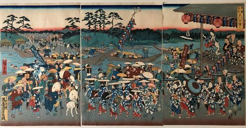 Japanese woodblock triptych, Festival, Hiroshige III