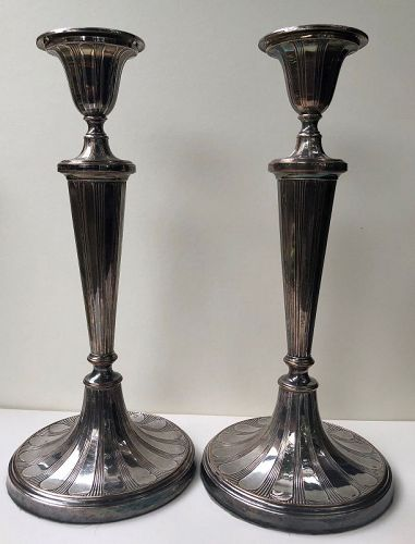 Pair of Sheffield plate candlesticks, England c. 1800