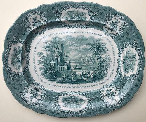 Staffordshire transfer printed green platter c. 1835
