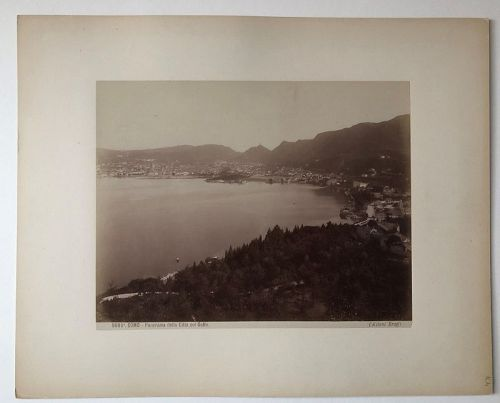 Albumen photo Lake Como and town, Brogi c. 1880