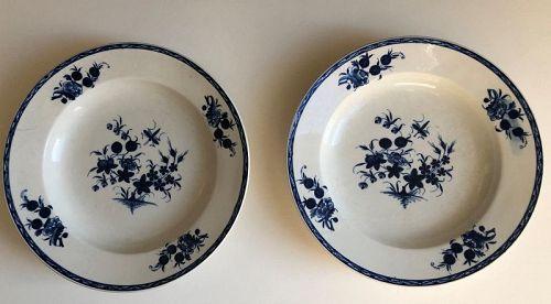 Pair of blue and white porcelain Tournai soup plates 19th century