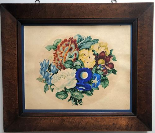 Theorem like floral still life, watercolor on paper, c. 1850