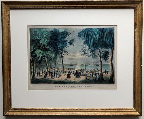 Hand colored lithograph, The Battery, New York, Currier 1850s