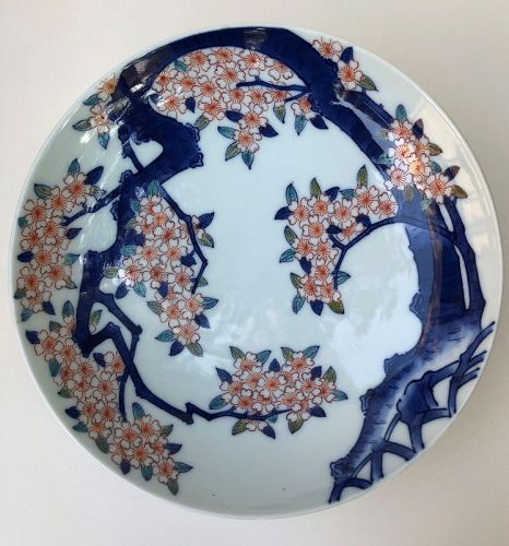 Nabeshima style large bowl with blossoming cherry.