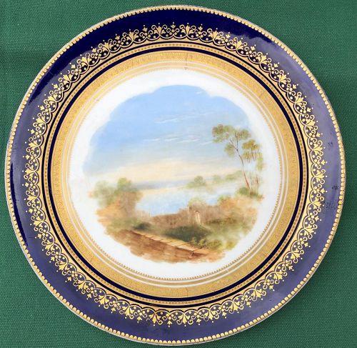 "Hand painted porcelain plate ""Loch Leven"" c. 1880 Britain"