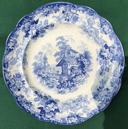 "Stoneware light blue transfer plate ""Genevese"" England c. 1830"