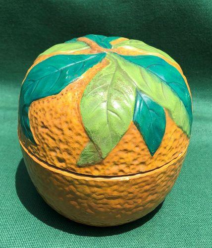 Stoneware Orange Marmalade Jar, England c 1878
