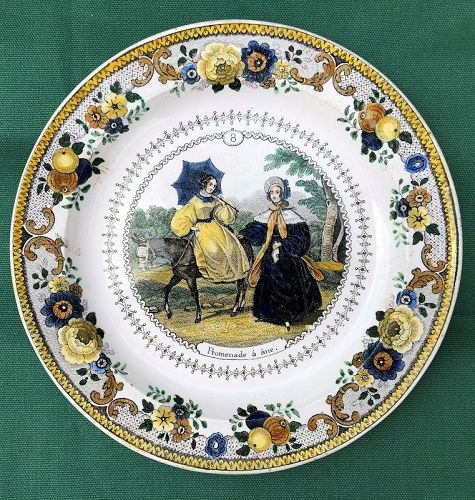 """Earthenware transfer printed plate """"Donkey Walk,"""" French c. 1850"""
