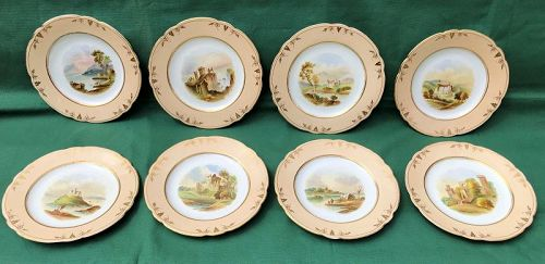8 hand painted plates most views of Scotland. Britain c. 1880