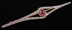 Edwardian Platinum, Diamond & Ruby Pin