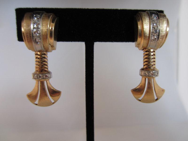 Rose Gold and Diamond Screw Back Earrings