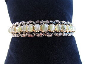 Cat's-Eye Chrysoberyl, Diamond & 18k Rose Gold Bangle