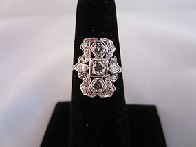 Art Deco Platinum and Diamond Cluster Ring
