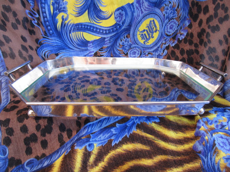 Sterling Silver and Glass Footed and Handled Tray