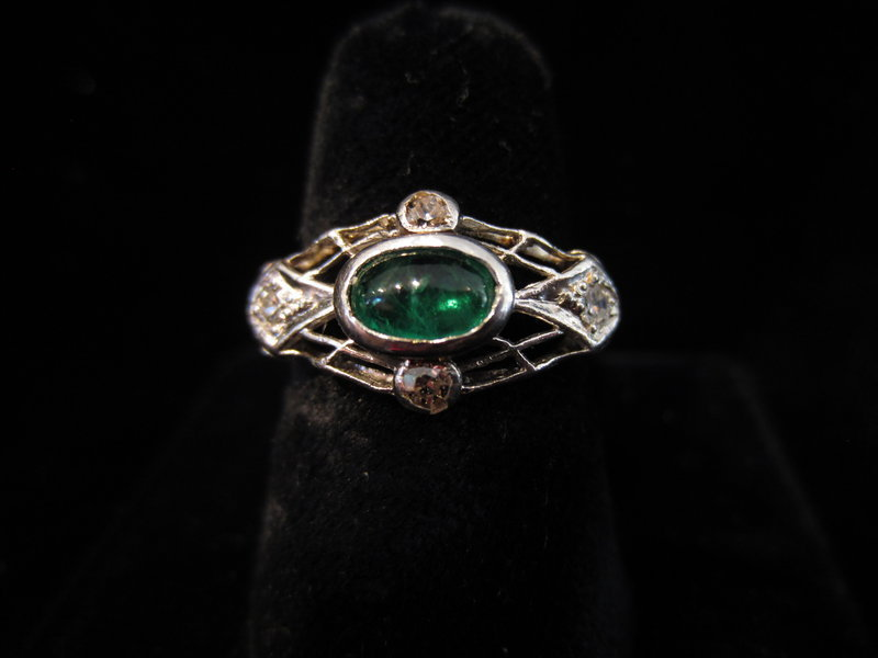 Edwardian Emerald, Diamond and Platinum Ring