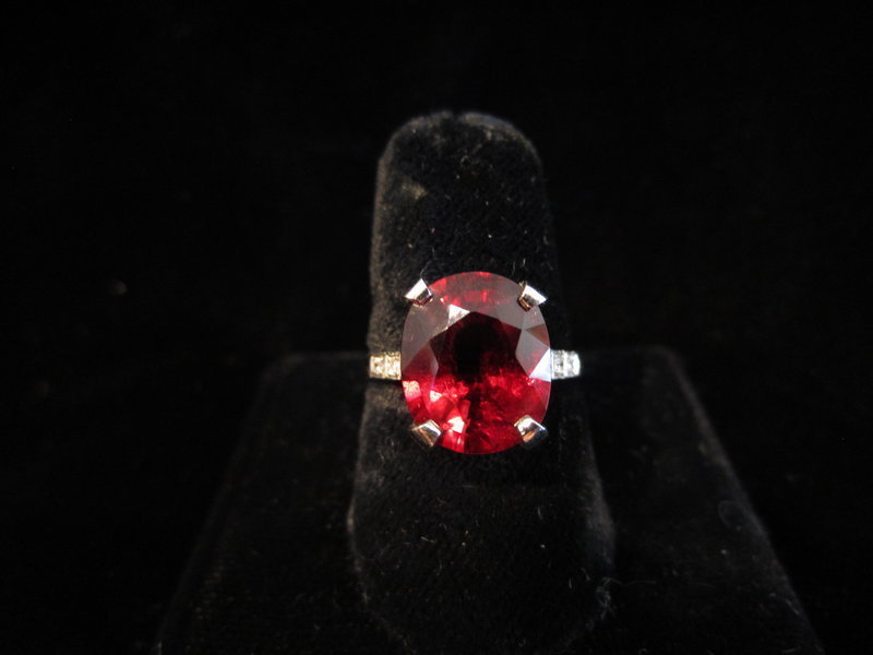 Rubellite Tourmaline, Diamond and Platinum Ring
