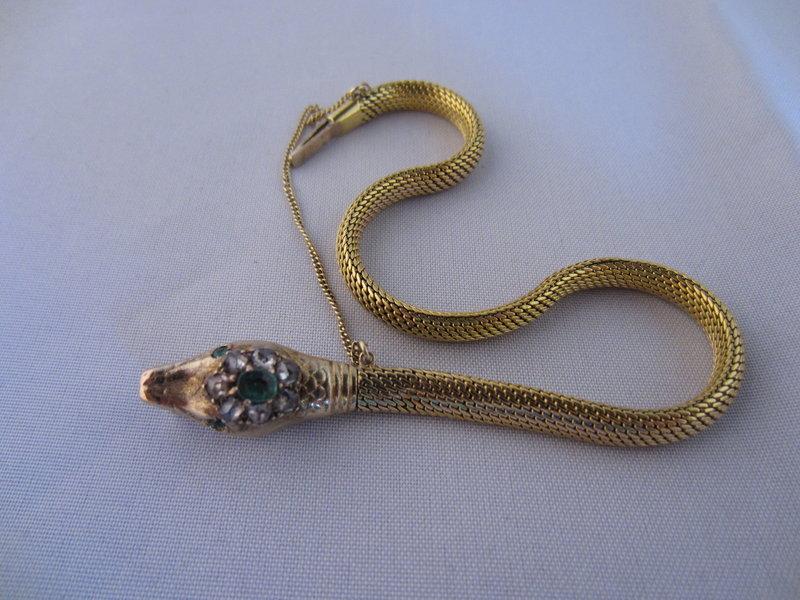 Victorian Snake Bracelet in 14k Diamond and Emerald