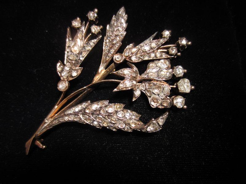 Georgian Rose Cut Diamond Floral Brooch