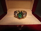Art Nouveau Diamond and Emerald Ring