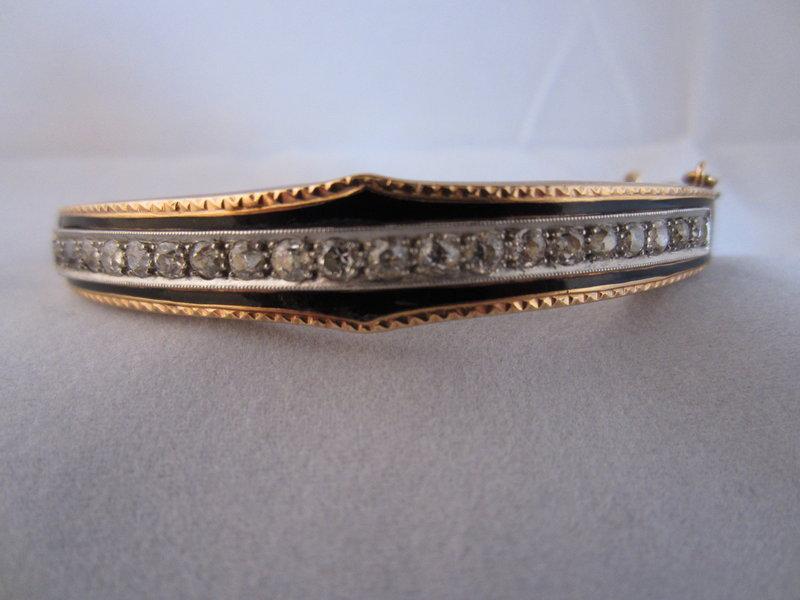 Victorian Diamond and Enamel Bangle Bracelet