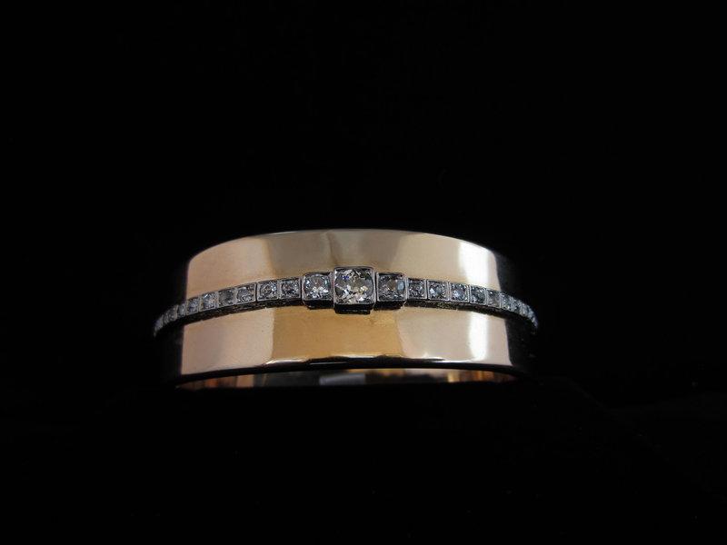 Gold, Platinum & Diamond Bangle Bracelet