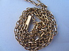 French 18k Yellow Gold Textured Link Chain