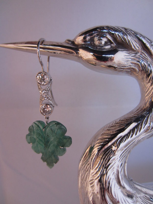 Hand Carved Emerald and Diamond Earrings