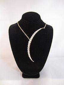 Diamond Crescent Moon Necklace