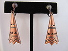 Circa 1930 Copper Teepee Earrings