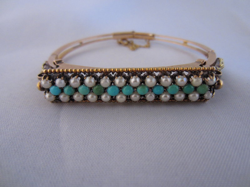 Victorian Persian Turquoise & Natural Pearl Bracelet