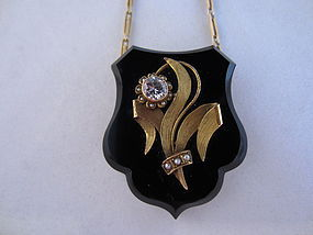 14k Gold, Onyx and Diamond Locket on 14k Chain