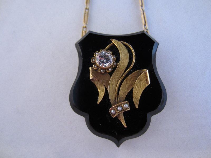 14k Gold, Onyx and Diamond Locket on 14k Chain