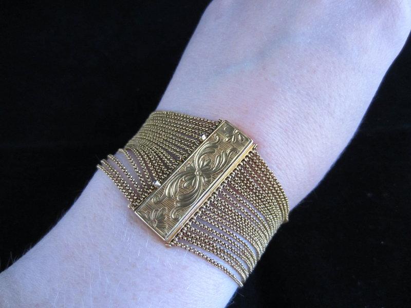 Victorian 18k Yellow Gold Multi Chain Bracelet