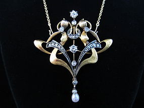 Art Nouveau Gold, Diamond, and Pearl Pendant