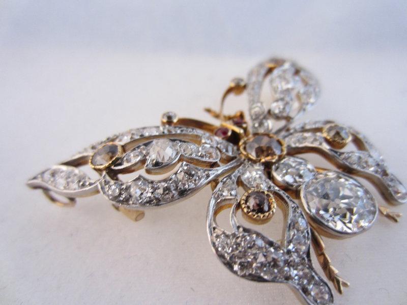 Edwardian Diamond & Ruby Butterfly Pin/Pendant