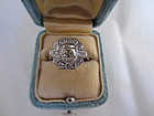 Art Deco 18k White Gold and 1.51 ct Diamond Ring