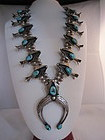 Navajo 1940s Turquoise and Sterling Silver Squash Blossom Necklace