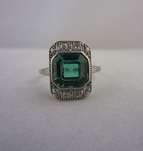 Art Deco Green Tourmaline and Diamond Ring