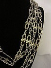 "Art Nouveau French Silver 65"" Long Chain"