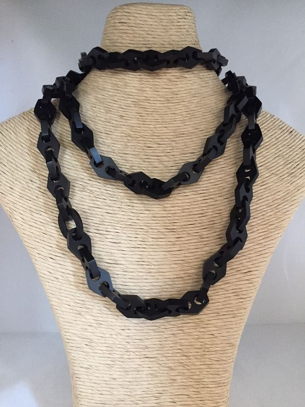 Victorian Bog Oak Long Large Link Chain