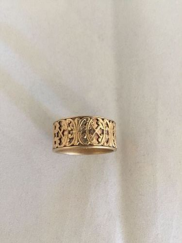 Wide Patterned 14k Yellow Gold Band